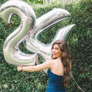 Silver Foil Birthday Balloon Numbers
